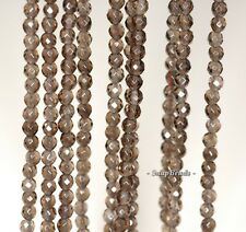 3MM SMOKY QUARTZ GEMSTONE GRADE A BROWN FACETED ROUND 3MM LOOSE BEADS 16""