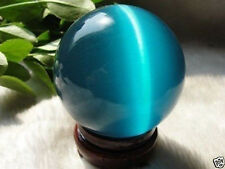 ASIAN QUARTZ BLUE CAT EYE CRYSTAL BALL SPHERE 40MM + STAND #7518