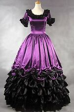 Ladies Purple Gothic Short Sleeves Satin Lolita Fancy Dress Cosplay Custom Made