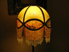 "Victorian French Med Lamp Shade Royal Dome ""Cream/ Rose"" Fringe  6"" Beads"