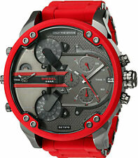Diesel Mr Daddy 2.0 Oversized Gunmetal Red Silicone Men Watch DZ7370 New in Box