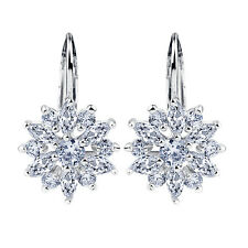 18k White Gold Plated Sparkling Cubic Zirconia Flower Dangle Hoop Earrings