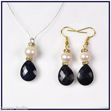 47 CTS+ NATURAL BLUE SAPPHIRE & FRESH WATER PEARL PENDANT AND EAR-RINGS SET