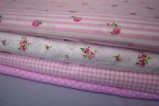 "4 pcs 12"" x 8"" 100% COTTON PATCHWORK FABRIC Pink Flowers Florals f4 *Great Buy*"
