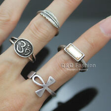 4x Silver Egyptian Ankh Cross Buddhist Om Ohm Aum Feather Leaf Gemstone Ring