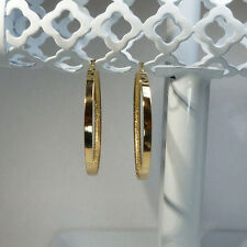 "14k Yellow Italian Gold Polished & Gold Dust Hoop 1 & 3/4"" Saddleback Earrings"