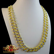 "14K 2 TONE G/P WHAT THE CHAIN  FLAT MIAMI CUBAN CURB CHAIN NECKLACE 18MM 31""INCH"