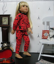 Fits 18 Inch Kidz n Cats Doll . Red Stars Long Sleeve 2 Pc. Leggings Outfit-D964