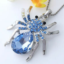 1PC Silver Plated Blue Crystal Rhinestone Spider Bead Charm Pendant M*