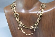 Women's Triple Loop 52 in Long Flat Ring Hand Hammered Necklace Solid 10k Gold