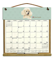 White Poodle Dog Wooden Refillable Holder Filled With A 2016 Calendar