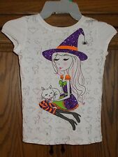 HALLOWEEN HOLIDAY EDITIONS WITCH TEE SHIRT & SPIDER HEADBAND SIZE S 6/6X