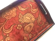 NEW WOOD Gold Floral Laquered 15 x 9.5 Handle TV Tea Serving Tray