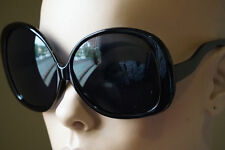 Retro Jackie O Oversized Huge Black Round Oval Butterfly Glossy Sunglasses 1033