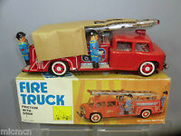 "VINTAGE TINPLATE FRICTION  MODEL No.MF718    "" FIRE TRUCK WITH SIREN ""    MIB"