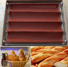 4 roll Loaf Mould Nonstick Fiberglass Baguette French Bread Pan Bakery Bake Mold
