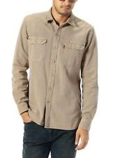 New Levi's Mens Kahki  Button Up 19573-0004 Double Chest Pocket Work Shirt Small