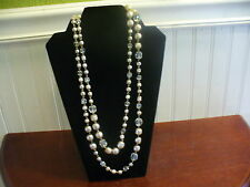 """Vintage Silvertone Metal Faceted Clear Textured Luster Glass Bead 53"""" Necklace"""