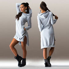 Women Ladies Winter Long Tops Sweater Sweatshirt Hooded Dress Asymmetric Jumper