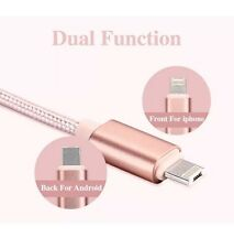 1 M  2 In 1 MICRO + IPHONE REVERSIBLE CHARGER CABLE LEAD WIRE SAMSUNG ROSE GOLD