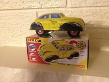 """Schylling """"Collectors Series"""" """"Press Down and off it Goes"""" Taxicab"""" Tin Toy New"""