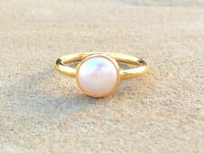 Pearl Round Gold Stackable Ring Faceted Vermeil Gold Ring Size 6