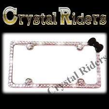 ☆LICENSE PLATE FRAME HELLO KITTY  BLACK BOW★CRYSTALS★DIAMOND★RHINESTONE BLIN