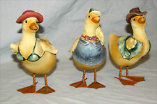 3 Duck Bird Figurines Baby Nursery Metal Feet Bikini Cowboy Hat Bow Tie Resin