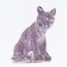 SOLID SILVER MODEL OF A TABBY CAT. MINIATURE STERLING SILVER CAT FIGURINE