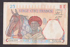 French Equatorial Africa 25 Francs Nd(1941) Vf P7 Very Rare Banknote!