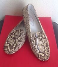 TOD'S WOMANS $1095 GOMMINO PAYTON SNAKE SKIN DRIVER LOAFERS SZ.11 NATURAL USED