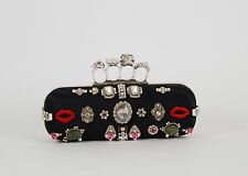 Authentic Alexander Mcqueen Crystal Embellished Satin Skull Knuckle Clutch $2995