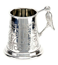 NEW BOXED Collectable Baby Pewter Mug Silver Baby Stork Handle Keepsake Cup Gift