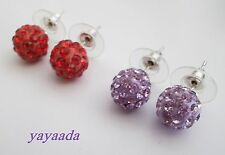 2 pairs of Crystal Disco Ball Beads stud Earrings Mix colour.