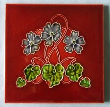 Red Antique English Art Nouveau Tile African Violet Original Vintage Ceramic