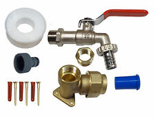 25mm MDPE Lever Outside Tap Kit | Brass Wall Plate and Garden Hose Fitting