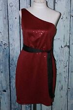 Max And Cleo By BCBG Sequin One Shoulder Claudia Red Wine Party Dress S 4 $138