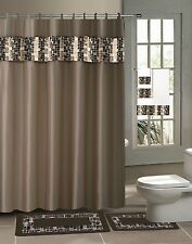 BATHROOM BATH RUG CONTOUR MAT SHOWER CURTAIN RINGS TOWEL 18PC SET MOSAIC BROWN