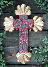 Small Carved Wooden Cross & Gold Leaf Ends Milagros, Mexican Folk Art Michoacán