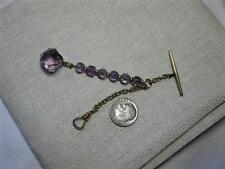 Amethyst 10K Gold Necklace Fob Victorian Art Deco Antique Jewelry c1890