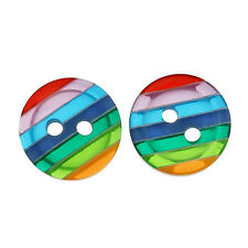 50pcs Resin Button Round Rainbow Strip Color 2 Holes Sewing Craft DIY Kid Cloth