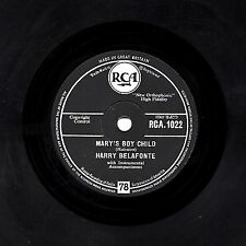 "CLASSIC UK CHRISTMAS 1957 No.1 HARRY BELAFONTE 78 ""MARYS BOY CHILD""  RCA 1022 EX"