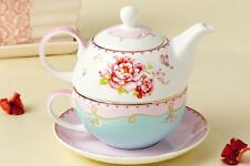 Tea for One Teapot Set with CUP /SAUCER Bloom Pink Rose New Bone China Porcelain