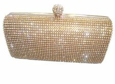 Gold Diamante Diamond Crystal Stone Evening bag Clutch Purse Party Prom Wedding