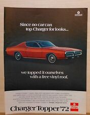 """1972 magazine ad for Dodge - red Charger Topper with """"free"""" vinyl roof"""