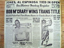 1929 newspaper BOBBY JONES TIES for #1 in US OPEN GOLF CHAMPIONSHIP Winged Foot