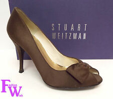 STUART WEITZMAN Size 6 Brown Bronze Satin peep Toe Evening Heels Pumps Shoes