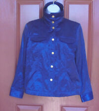 NWOT Ruby Rd Royal Blue Metallic Jacket 10 Petite Cotton Blend Snaps Pockets LS