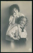 Beautiful Edwardian Child Girl Brother fantasy vintage old 1910s photo postcard