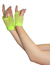 Girls Neon Short Fishnet Fingerless Gloves, Gloves, Party Gloves, Fishnet Gloves